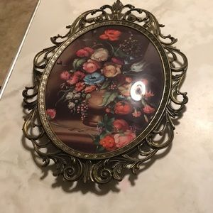 Vintage floral wall hanging. Made in Italy.